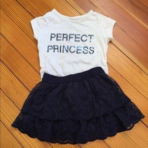 🍀  Perfect Princess Two Piece Navy & White Set